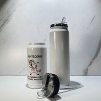 DIY التسامي كولا يمكن أن ترموس زجاجة المياه مزدوجة الجدران الفولاذ المقاوم للصدأ بهلوان معزول فراغ مع غطاء فارغة