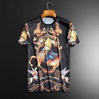 T-shirt da uomo 3D Cavallo stampato Tshirt Rock Streetwear Summer Mens Abbigliamento Abbigliamento corto manica corta Nero Gold Devil Social Club Autpiri T-shirt divertente