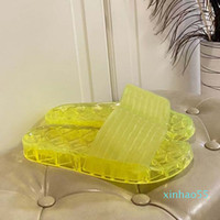 Clear Jelly Pvc Sandals Womens Luxury Designer Slipper Transparent Glossy Pool Mules Slides Lady Rubber Slip On Sand