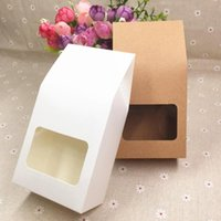 Gift Wrap 24pcs Kraft Packaging Bag Clear PVC Window Seal Food Packing Paper Box For Cookie Chocolate Coffee Bean Candy Cake 8*5*16cm