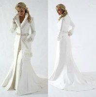 Mulheres elegantes de pele de pele de nupcial jaqueta neck nupcial wrap manga comprida mulheres casacos de inverno para casaco de casamento Bolero Plus Size Capes