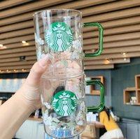 En son 17 oz starbucks cam kahve kupa, kiraz çiçeği yaratıcı çiçek tarzı süt fincan soğuk içecek, destek özelleştirme