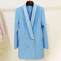 Women's Suits & Blazers est Designer Fashion Dress Double Breasted Lion Buttons Shawl Collar Long OJ9P