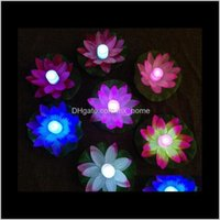 Decorative Flowers Wreaths Led Lotus In Colorful Changed Floating Water Pool Light Lamps Lanterns For Party Decoration Wishing Lamp Hh D3I9G