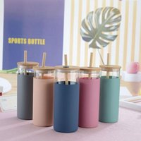 Mugs 1 Pcs Bamboo Lid Straw Silicone Sleeve Single Layer Glass Bottle Tea Cup Coffee Cups With Lids And Straws Bubble Boba