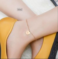 Round Square Lettering English Letter Anklet Stainless Steel Plated 18K Gold Colorfast DFF4247