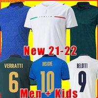 Италия Футбол Джерси 2021 2022 Italia Barella Sensi Insigne 20 21 22 Европейский Евро Кубок Чьеллини Бернардески Футбольные рубашки Мужчины + детский комплект Униформа
