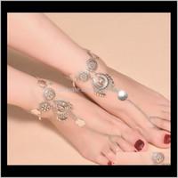 Bijoux Drop Livraison 2021 Vintage antique Anklets de monnaie rétro pour femmes Yoga Sexy Bracelet Bracelet Sandales Brides Chaussures Barefoot Beach Gif