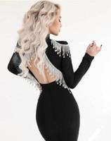 Casual Dresses 2021 Women's Bandage Mini Dress Halter Fringe Rhinestone High Neck Long Sleeve Skinny Sexy Elegant Lady Celebrity Club Party