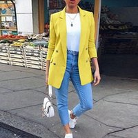 Women's Jackets Autumn Long Sleeve Cardigan Blazer Solid Coat Casual Office Women Slim Button Work Ladies Open Front Notched S-5XL