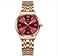 TRSOYE Brand Wine Red Dial Light Luxury Womens Watch Breathable Steel Strap Ladies Watches Luminous Function Surprise Wristwatches