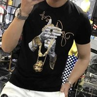 Summer Men's short-sleeved Tee shirts Shinning luxury Hot Drilling T-shirt Man's Casual Rhinestone Skulls Tshirt Asian size X0602