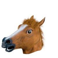 Masque de fête effrayant tête de cheval de fourrure homme latex animal halloween masqué costume drôle fou