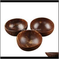 Natürliche Kokosnussschale Dekoration Fruchtsalat Nudel Reis Holzhandwerk Kreative Muschelschüsseln EWD3084 Nunay Ajrxg