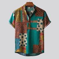 Men's Casual Shirts Men Shirt Short Sleeve Top Summer Linen 2021 Male Beach Wear Hawaiian Button Streetwear Camisas Hombre
