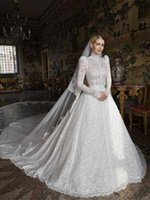 Other Wedding Dresses Luxury Lace Muslim Gowns High Neck Puffy Long Sleeves Ball Gown With Train Custom Made Bridal