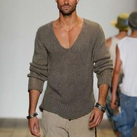 Men's Sweaters Spring Autumn Sweater Men 2021 Arrival Casual Pullover Long Sleeve Deep V Neck Solid Knitted Streetwear 5XL