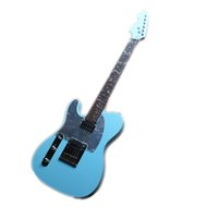 Anpassad Tele Vänster Hand Elektrisk Gitarr, Sky Blå Kropp, Vit Bindning, Pearl Shell Inlay, Mirror Pickguard, Chrome Knappar