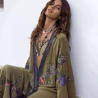 Boho Boho brodé Kimono Kaftan Open Taille Taille ouverte Top Beach Taille Contraste Contraste Longue Chemise Summer Beach Robe T200301