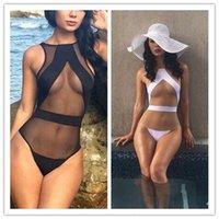 Más nuevo blanco y negro de una pieza traje de baño sexy malla bikini vintage baño traje de baño s m l