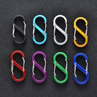 Kimter S Shape Mini Carabiner Key Rings Aluminum Durable Locking Clip for Home Camping Fishing Hiking Sport Outdoors Tool Keychains P80FA
