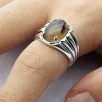 Cluster Rings 925 Sterling Silver Men Ring Prong Setting Natural Agate Stone Turkey Handmade Crawl Design For Women Fine Jewelry