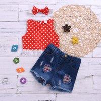 Lovely Infant Kids Girls Clothes Sets 3pcs Polka Dot Printed Sleeveless Single Breasted Vest Denim Shorts Headband Clothing