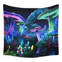 판타지 버섯 태피스 트리 거실 침실 기숙사 벽 매달려 아트 장식 3D 환각 식물 갤럭시 공간 별이 빛나는 밤 하늘 태피스트리