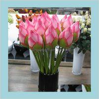Flores coronas festivas festivos suministros hogar jardín vivo 78 cm artificail seda loto brote el y restaurante flor decorativa artificial