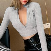 Women's T-Shirt Autumn Spring Casual Sexy T-shirts Women Ladies Long Sleeve Front Zipper Low-cut Slim Pullover Tops High Waist Club Cropped