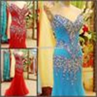 Real Photos Mermaid V Neck Full Beading Blue Tulle Long Celebrity Red African Evening Dresses Prom Gowns