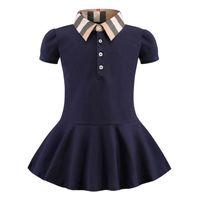 Детские девочки платье детей отворота колледжа ветер бантом с коротким рукавом плиссированные полом рубашки полов юбка детский повседневный дизайнер одежда детская одежда