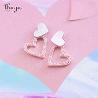 Thaya Double Heart Earring Stud Rose Gold Color Pink Zircon Earrings Stud For Women Fashion Earrings Trend Christmas Gift 210506