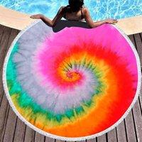 150-150cm Tie tinte Toalla de playa redonda con borlas Colorido Unisex Unisex Ultra Suave Super Agua Absorbente Absorbente Microfibra Gran Microfibra Seaside Ducha Toallas GG424VT9