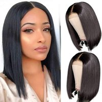 Human Hair Capless Wigs Front Lace Wig Headgear ClosureBob Brazilian Real tousle Natural Color 150% Density