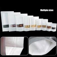 Envoltura de regalo 20pcs / lote ventana vacío bolsa de papel secado fruta paquete auto sellado cremallera de pie bolsas