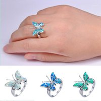 FDLK Cute Butterfly Animal Design Ring Imitation Blue Fire Opal Ring For Women Accessories Jewelry Bohemian Statement Girl Gift1