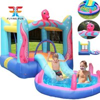 Octopus Bounce House with Built-In Water Sprayer Garden Supplie Inflatable Bouncer Jumper Slide Octopuss Themed Indoor Outdoor Park w  Pool for Kids Party Play