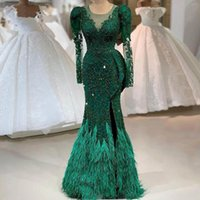 2021 Newest Luxury Emerald Green Evening Dresses Beaded Lace Real Image Feather Mermaid Side Split Full Sleeves Prom Party Gowns