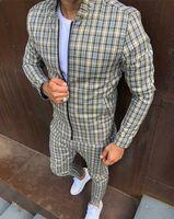 Fashion Jackets Mens Tracksuits Sets Colorful Plaid Men Casual Zipper Set Autumn Tops Pants Male Sweatshirt Pocket
