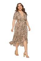 Womens Plus Size Dresses Dress Leopard Print Vestido Midi Irregular Ruffle Slim Party Large Women Clothing