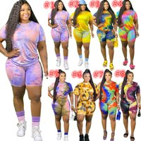Plus Sizes Women Tracksuits Two Pieces Set Outfits Designer Tie Dye Short Sleeved Loose T Shirt Shorts Ladies Summer Casual Suits 615