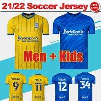 Jerseys de futebol da cidade de Birmingham 21/22 # 9 Hogan # 11 Bela Home Blue Soccer Jersey # 12 Dean # 3 Pedersen Away Camisa Amarelo 2021/2022 Homens Adulto # 34 Uniformes Sunjic Kids Kit