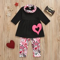 Casual Children's Suit Toddler Baby Kids Clothes Girls Solid Heart Print Long Sleeve Tops+Cashew Pants+Scarf Sets 2021 Clothing