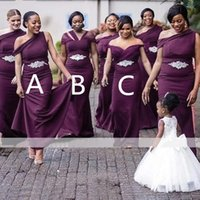 Purple Mermaid 2021 Long African Bridesmaid Dresses One Shoulder Crystal Belt Wholesale Maids Of Honor Wedding Party Gowns