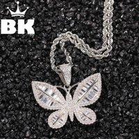 KING Custom The Pattern Butterfly Necklace HipHop Full Iced Out Cubic Zirconia Gold Sliver CZ Stone Pendant Necklaces