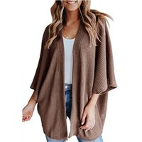 Women's Jackets 2021 Unique Nature Womens Open Front Cardigan Batwing Sleeve Cardigans Female Solid Color Waffle Knit Slouchy Loose Sweater