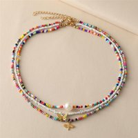 Chokers Korean Moon Star Trendy Pearl Choker Necklace For Women Bohemian Colorful Handmde Bead Collar Jewelry Butterfly