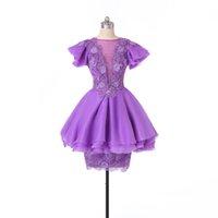 Moda Vestidos de joya corta de joya Cuello de manga corta Apliques Lace Organza A-Line Mini Vestidos de prom PROG HONS7