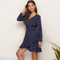 Casual Dresses 2021 Brand Womens Dress Sexy Polka Dot Flounced Irregular Women Woman Clothing For Female